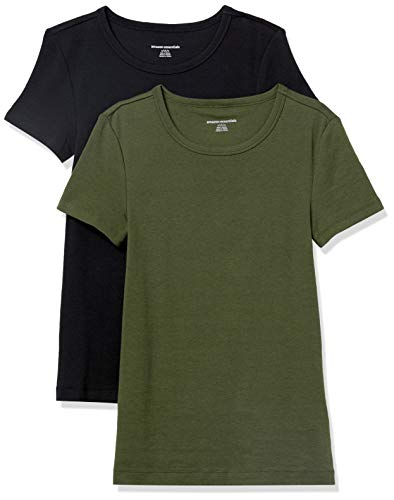 Amazon Essentials Women's 2-Pack Slim-Fit Short-Sleeve Crewneck T-Shirt