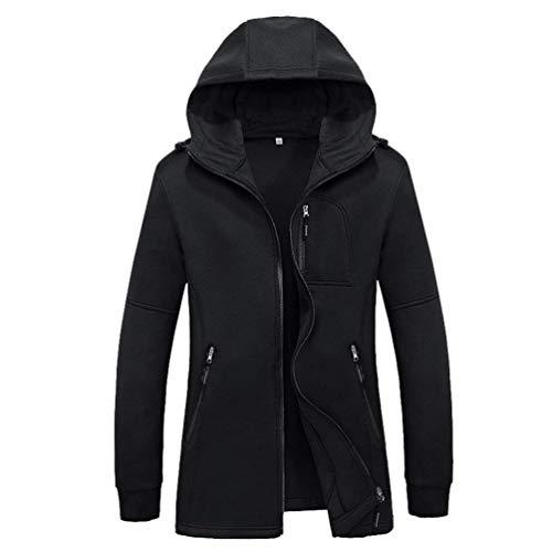 Coat Schwarz Bolsillos Coat Sólido Modernas Capucha Chaquetas Otoño Casual Trench Soft Long Fit Elásticos Casual Midi con Color Slim Zip IRHwwq6Up