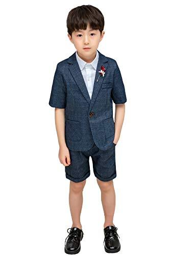 Boys Summer Suit Set Formal Jacket Shorts Short Sleeve Classic Fit Wedding Dresswear Size 6T Gray 120cm ()