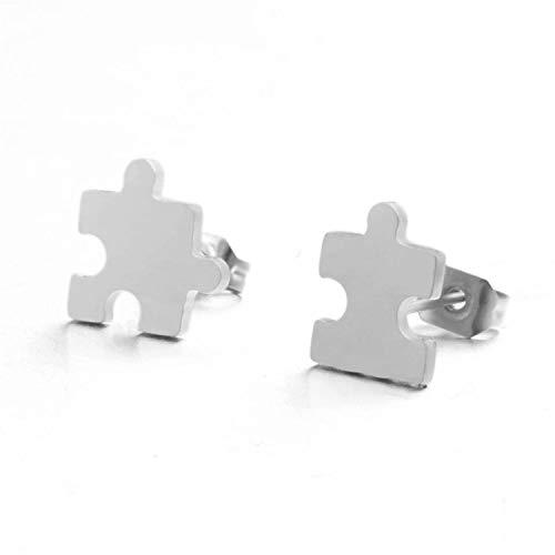 New Silver Color Mini Stud Earrings Fashion Stainless Steel Star Moon ECG Pacman Eye Hand Ear Studs Cute ()