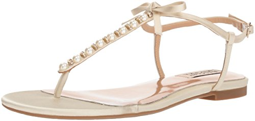 Badgley Mischka Women's Honey Flat Sandal, Ivory, 10 M US