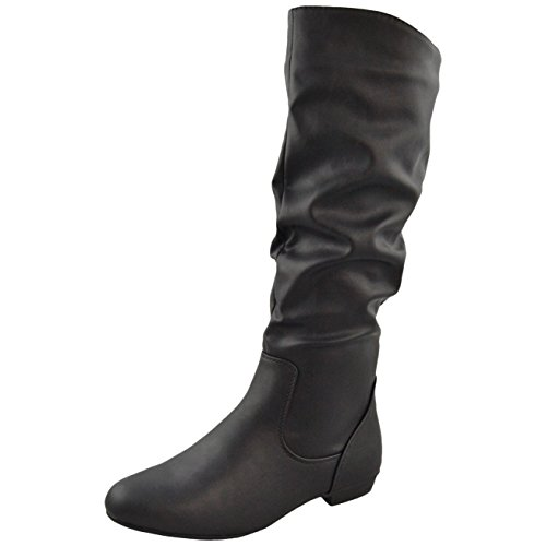 Womens Knee High Boots Almond Toe Side Zipper Closure Black Black AxmLPKN