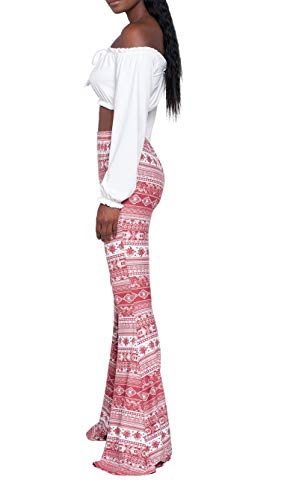 8f297d5c57304 Women's Sexy Glitter Sequin Wide Leg Color Block Bell Bottom High Waisted  Flared Stretch Palazzo Pants