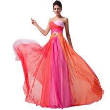 Ever Pretty, Grace Karin Quissmoda Vestido Fiesta Largo Boda, Color Azul,Naranja,