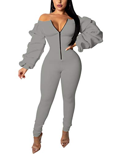 56ed8ce268d Makkrom Womens Sexy Off The Shoulder Jumpsuits Bodycon Ruffled Long Sleeve  Front Zipper Long Pants Rompers