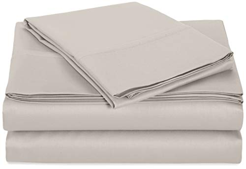 AmazonBasics 400 Thread Count Sheet Set, 100% Cotton, Sateen Finish - Full, Stone Grey