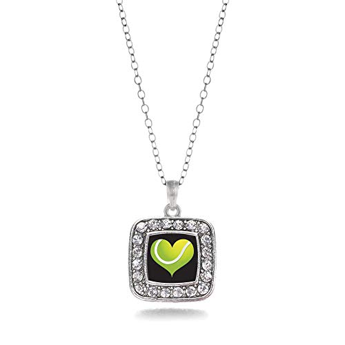 Inspired Silver - Heart of A Tennis Player Charm Necklace for Women - Silver Square Charm 18 Inch Necklace with Cubic Zirconia Jewelry ()