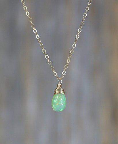 Genuine Opal Pendant Necklace (Genuine Green Opal Teardrop Pendant Necklace Ethiopian Welo Opal Gold -17