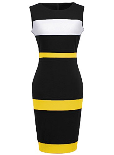 WOOSEA Women's Sleeveless Voguish Colorblock Stripe Cocktail Party Pencil Dress (Small, Yellow)