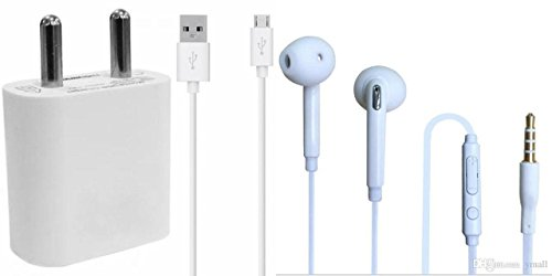 Videocon V1516 COMPATIBLE Combo of Wired Headphone/Earphone (white) with charger and data cable for all Smartphones by vell- tech