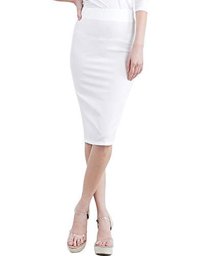 CLOVERY Women's Back Slit Basic Stretch Cotton Foldover Waistband Bodycon Tube Mini Skirt Ivory XL Plus Size