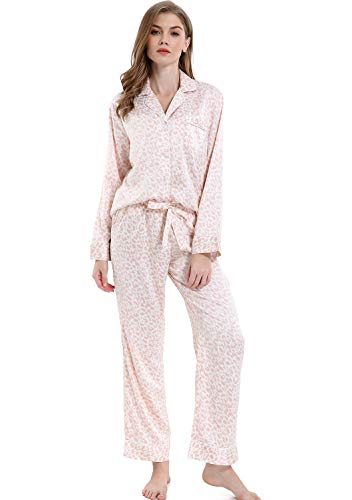 Serenedelicacy Women's Silky Satin Pajamas, Button Up Long Sleeve PJ Set Sleepwear Loungewear (X-Large / 16-18, Leopard Blush)]()
