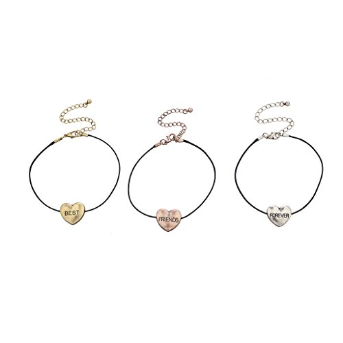 Lux Accessories Tri Color Heart Best Friends Forever BFF Bracelet Set (3PCS)
