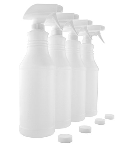32-Ounce Carafe Style Plastic Spray Bottles w/ Heavy Duty Mist & Stream Sprayers (4-Pack); 3-Setting Adjustable Nozzles, Quart Size BPA-Free HDPE Plastic Bottles, Also Includes Caps for Storage