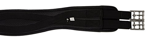 Horse Fare Products PVC Contoured English Girth with Double Elastic (Black, 46