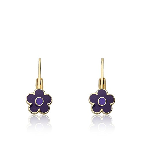 Little Miss Twin Stars Frosted Flowers 14k Gold-Plated Purple Flower Leverback Earring With Lavender Center