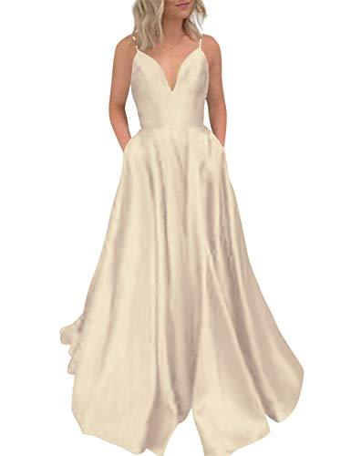Evening Pockets Prom Party Dress Deep Neck Bess Champagne Long V Bridal Women's x1vqw40f