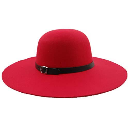 Women Beach Hat, Laddies Wide Brim Sun Hat, Church Derby Hat with Flora Decor ()