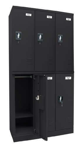 Sandusky Lee KDCL7236/6-09 Black Powder Coat Steel SnapIt Full Length Locker, 6 Compartments, 72