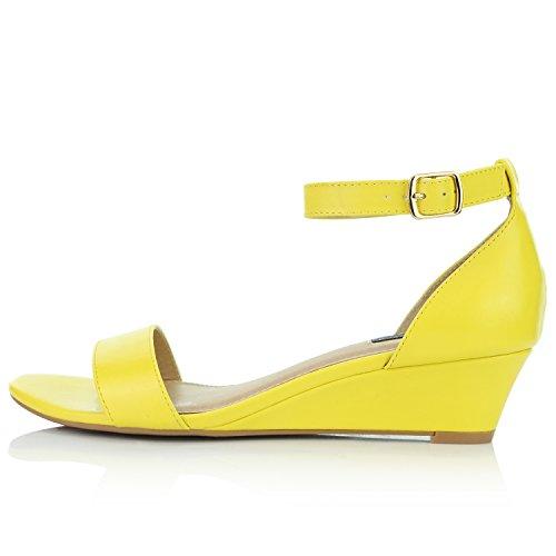 Pu Shoes Yellow Dailyshoes Fashion Strap Sandal Chunky Wedge Toe Women's Open Heel nPngTSqa