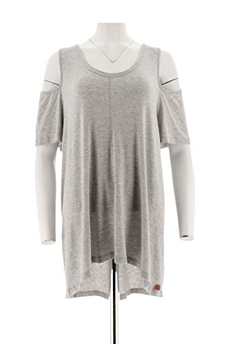 Peace Love World Cold-Shoulder Short SLV Knit Top Heather Grey XL New A288576