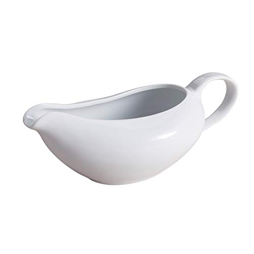 (HIC Porcelain Coupe Shaped Gravy Sauce Boat, 18-Ounce)