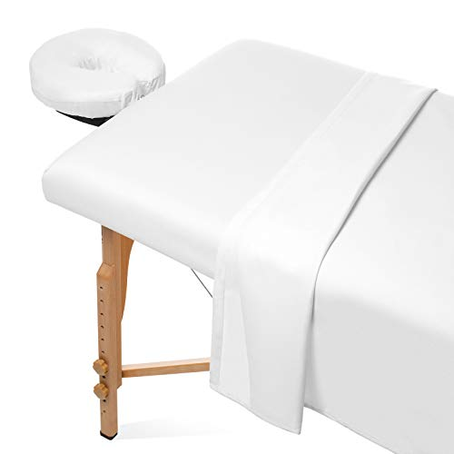 (Saloniture 3-Piece Microfiber Massage Table Sheet Set - Premium Facial Bed Cover - Includes Flat and Fitted Sheets with Face Cradle Cover - White )