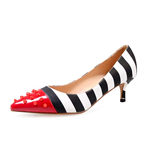 wetkiss Comfortable Low Heel Pumps Studded Pointed Toe Heels Slip on Pumps Rivets Zebra Print Shoes Women