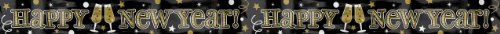 amscan Grand New Year Party Champagne Cheers Banner Decoration, Gold/Silver/Black, Foil, 9 Feet, 1-Piece