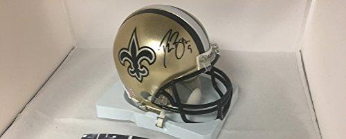 Drew Brees Signed Autographed New Orleans Saints Mini Helmet Witness COA & Hologram from Signature Dog Autographs