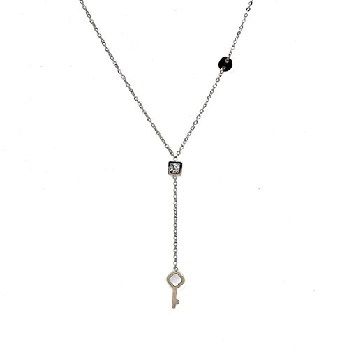 - United Elegance Delicate Silver Tone Designer Y Style Necklace with Clover Cut Out Key Charm