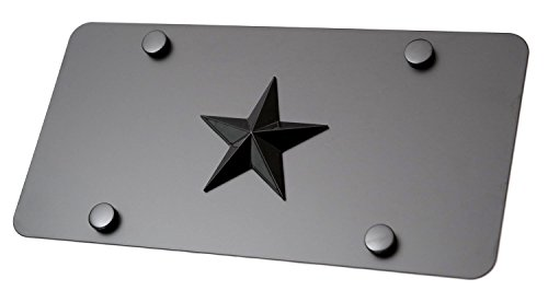 LFPartS Texas Lone Black Star 3d Emblem on Black Stainless Steel License Plate