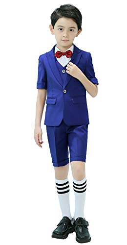 Boys Short Suit 5 Piece Slim Fit Suit for Boys Royal Blue Size 6 -