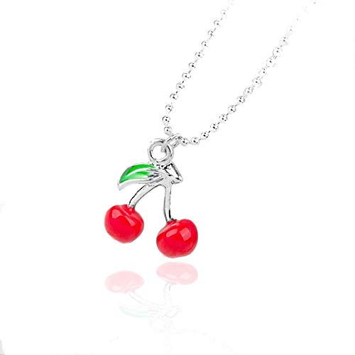 Enameled Cherries - Joji Boutique Miniature Enameled Cherry Pendant Necklace with Silver Ball Chain