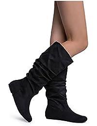 Women's Zuluu Slouchy Faux Leather Knee HIgh Flats Boots