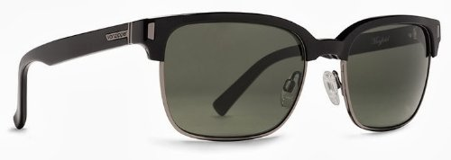 Veezee - Dba Von Zipper Mayfield Rectangular Sunglasses, Black Gloss, 56 - Case Sunglass Zipper Von