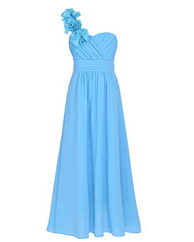 CHICTRY Chiffon One Shoulder Flower Girl Kids Junior Long Bridesmaid Wedding Party Gown Dresses Sky Blue 14
