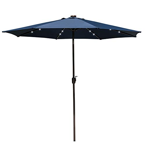 - Sundale Outdoor 10 ft Solar Powered 24 LED Lighted Patio Umbrella Table Market Umbrella with Crank and Push Button Tilt for Garden, Deck, Backyard, Pool, 8 Steel Ribs (Navy Blue)