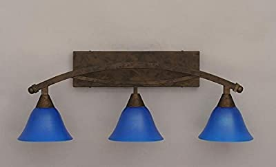 "Toltec Bow 3 Light Bath Bar in Bronze with 7"" Blue Italian Glass"