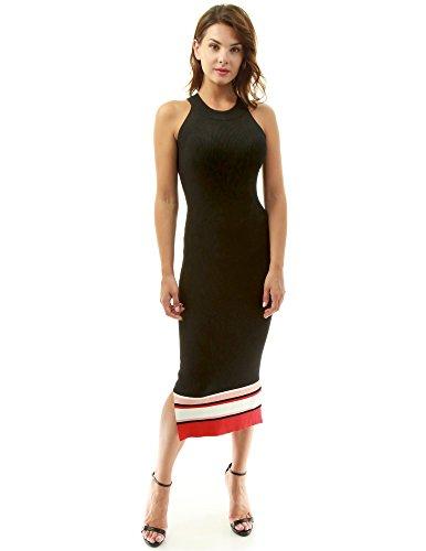 PattyBoutik Mujer Color bloque halter con costillas vestido de punto negro, blanco y rojo