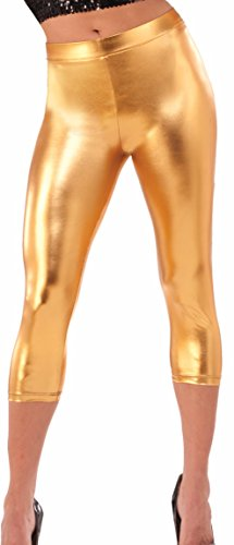 Forum Women's Disco Fever 70's Shiny Leggings, Gold, (Lame Funny Halloween Costumes)