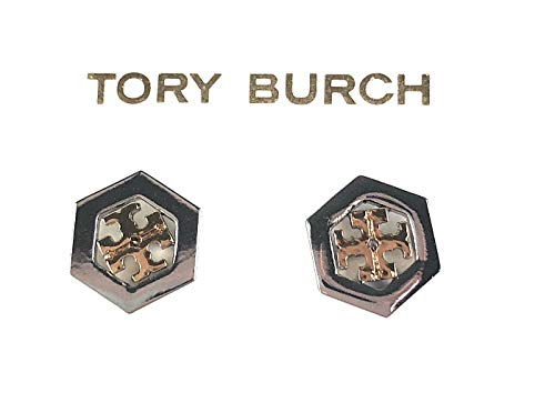 Tory Burch Hex Logo Two Toned Gold Silver Stud ()