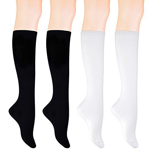 KONY 4 Pairs Women's Knee High Socks Soft Cotton School Uniform Socks All Season Gift Size 6-10 (Black 2 + White 2) ()