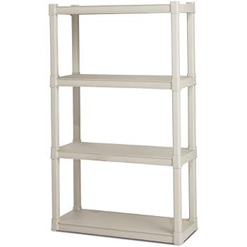 Sterilite 01648501 4-Shelf Unit with Light Platinum Shelves and Legs