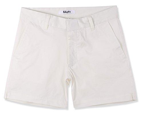 Estepoba Women's Juniors Premium Comfy Stretch Fitted Mid-Rise Chino Walk Short Off White 27