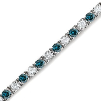 3 CT White & Blue Diamond Bracelet 14K White Gold