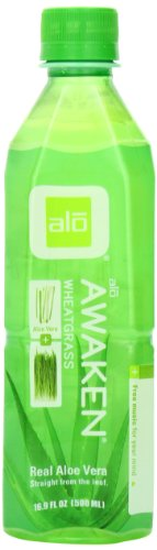 ALO Awaken Aloe Vera Juice Drink, Wheatgrass, 16.9  Fl. Oz (Pack of 12), Cane-Sugar Sweetened, Aloin-Free, No Artificial Flavors Preservatives or Colors, Gluten Free, Vegan