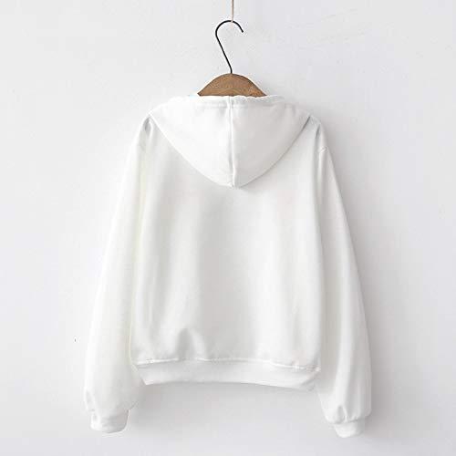 Blanc Manches Longues Chemisier Sweats Automne Imprim Casual Streetwear Sweat Tops Solike Pull Manteau Imprim Capuche Femme Filles Hiver Sweatshirt Shirt Blouse Loose gx1f048