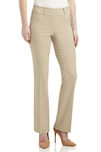Rekucci Women's Ease in to Comfort Fit Barely Bootcut Stretch Pants (4,Stone) -