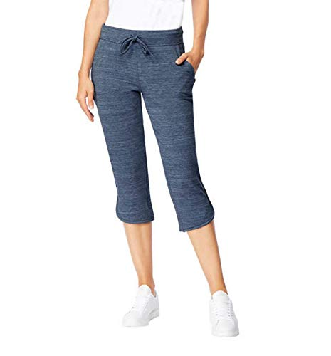 (32 DEGREES Ladies Soft Fleece Knit Capri Pants (Small, Blue Space Dye))
